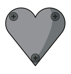heart with screws icon vector image