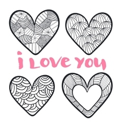 Hearts set in zentangle style vector image vector image