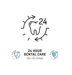 24 hour dental care tooth icon stomatology vector