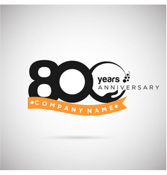 800 years anniversary logo with ribbon and hand vector image