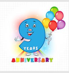 9 anniversary funny digits vector