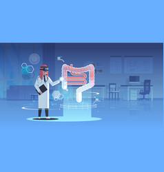 arab doctor wearing digital glasses looking vector image
