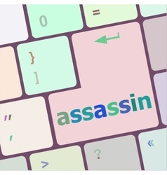 Assassin word on computer pc keyboard key vector