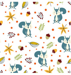 autumn pattern with squirrel and leaves vector image