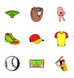 Baseball cap icons set cartoon style vector