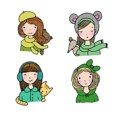 Beautiful girls in hats vector image