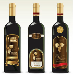 black bottles for wine with gold and brown labels vector image