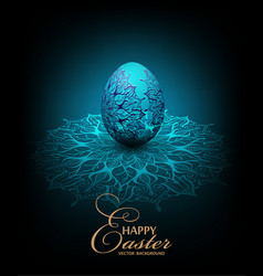 blue background with transparent lace easter egg vector image