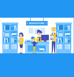 bookstore interior with bookshelves people vector image
