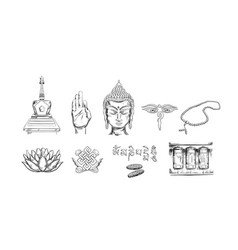 buddhism icons collection vector image