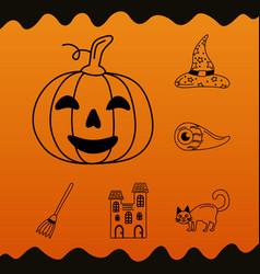 Bundle halloween icons and pumpkin vector