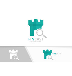 Castle and loupe logo combination tower vector