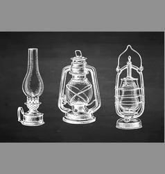 chalk sketch kerosene lamps vector image