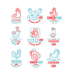 Chicken logo set fresh meat premium quality badge vector