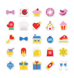 Christmas and celebration colored icons 6 vector