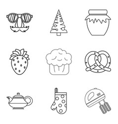 christmas baking icons set outline style vector image
