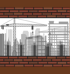 Construction crane building between two brick wall vector
