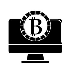 contour computer technology with bitcoin currency vector image