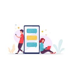 couple using laptop smart phone communicate vector image