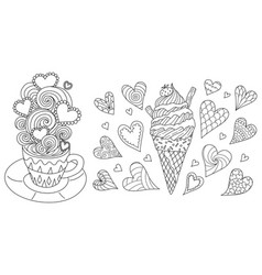 cute hot coffee and ice cream cone vector image