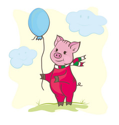 cute piggy with a ball vector image
