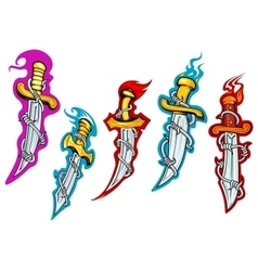 Daggers with barbed wire and fire flames vector image