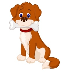 Dog cartoon with bone vector