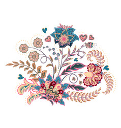 Embroidery stitches with fantasy flowers in pastel vector