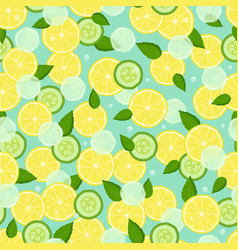 Endless texture with pieces lemon slices cucumber vector