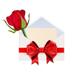 Envelope decorated with red ribbon bow and red vector image