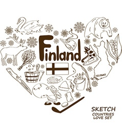 Finland symbols in heart shape concept vector image