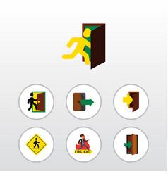 flat icon door set of entry entrance emergency vector image vector image