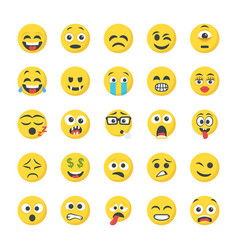 Flat icons of smileys vector