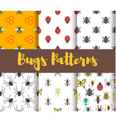 flat style set patterns with bug vector image