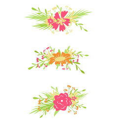 floral hand-drawn elements flat isolated elements vector image