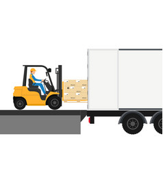 forklift with man driving in container for export vector image