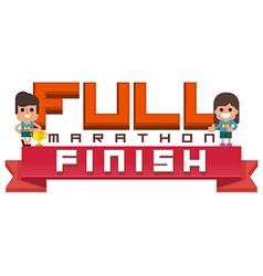 Full Marathon running finish vector image