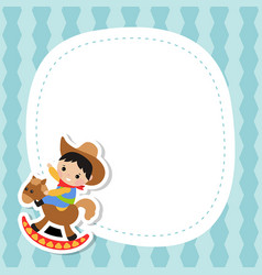 greeting card with little cowboy greeting card vector image