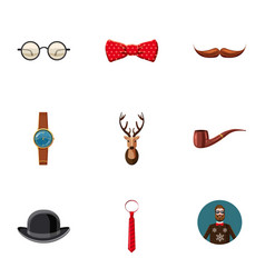 Hipster icons set cartoon style vector