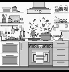 home kitchen interior line monochrome vector image
