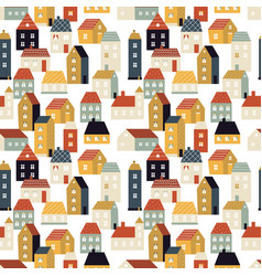 house pattern tiny city cute scandinavian vector image