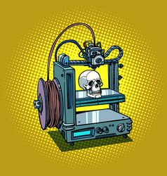 human skull 3d printer manufacturing vector image