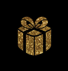 isolated glitter golden holiday gift box icon vector image
