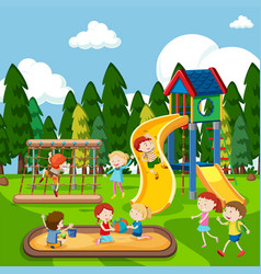 Kids playing on playground vector