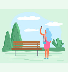 lady walk and take photo landscape in park vector image