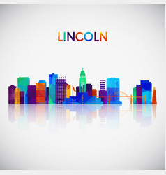 Lincoln skyline silhouette in colorful geometric vector