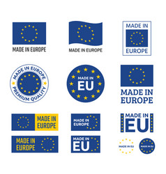 made in europe labels set european union product vector image