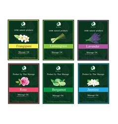 Massage oil label packaging design vector