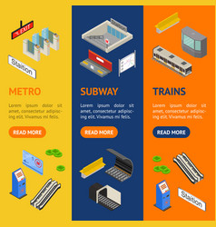 metro station 3d banner vecrtical set isometric vector image