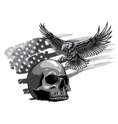 monochromatic eagle and skull vector image